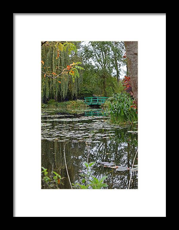Monet's Bridge Framed Print featuring the painting Monet's Bridge At Giverny, France by Verlaine Crawford