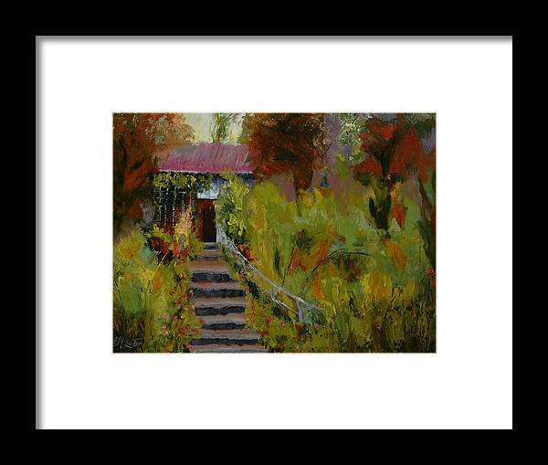 Landscape (framed) Framed Print featuring the painting Monet's Garden Cottage by Colleen Murphy