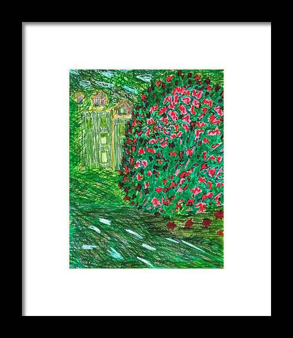 Doodle Art Framed Print featuring the drawing Monet's Parc Monceau by Susan Schanerman
