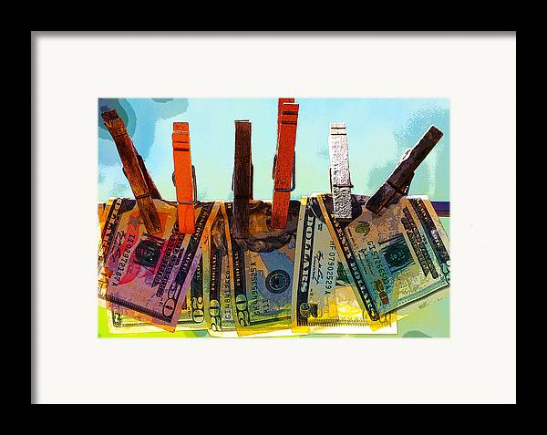 Clothespins Framed Print featuring the digital art Money Laundering by Karon Melillo DeVega