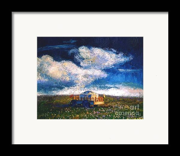 Momgolian Framed Print featuring the painting Mongolian Home by Meihua Lu
