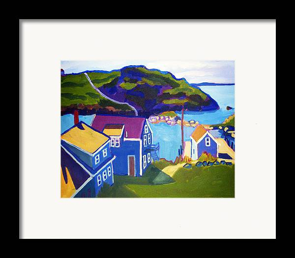 Seascape Framed Print featuring the painting Monhegan Harbor by Debra Bretton Robinson