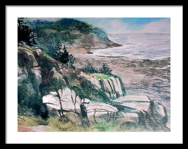 Watercolor;water Media;painting;monhegan Island;maine;sea;seascape;ocean;water;impressionistic; Framed Print featuring the painting Monhegan Trail by Don Getz
