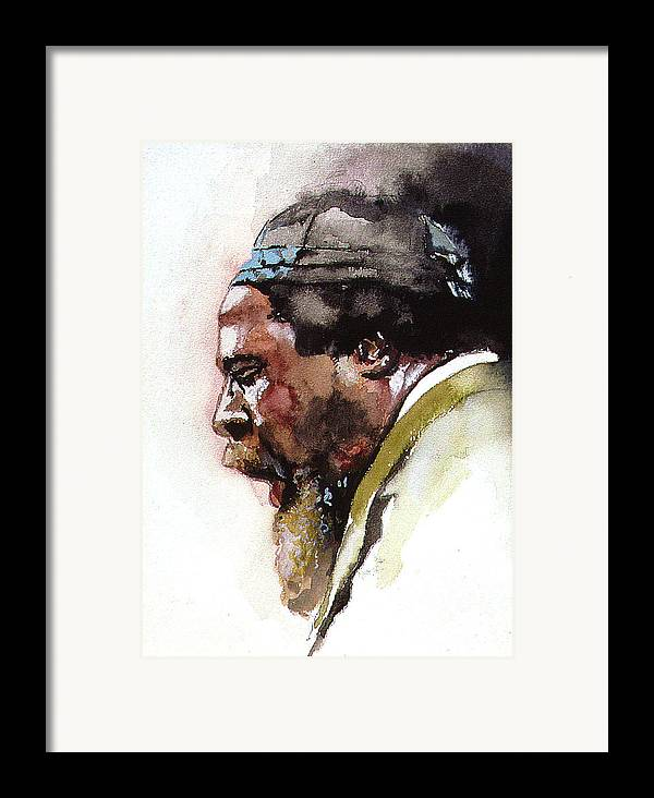 Watercolor Framed Print featuring the painting Monk by Bryan Dechter
