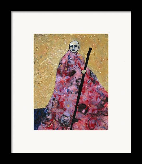 Gold Framed Print featuring the painting Monk With Walking Stick by Pauline Lim