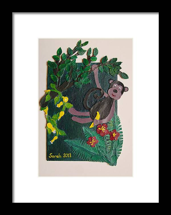 Monkey Framed Print featuring the mixed media Monkey Swing And Snack by Sarah Swift
