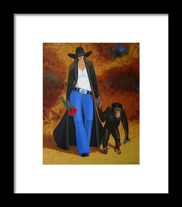 Monkey Framed Print featuring the painting Monkeys Best Friend by Lance Headlee