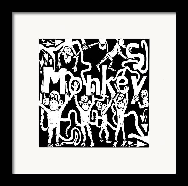 Monkey Framed Print featuring the drawing Monkeys Maze For M by Yonatan Frimer Maze Artist