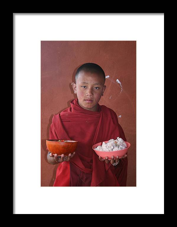 Bhutan Monk Lunch Rice Child Robes Bhutanese Framed Print featuring the photograph Monks Lunch by Linda Russell