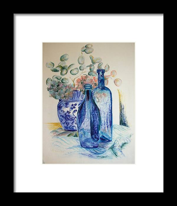 Still Life Framed Print featuring the drawing Monnaie Bleue by Muriel Dolemieux