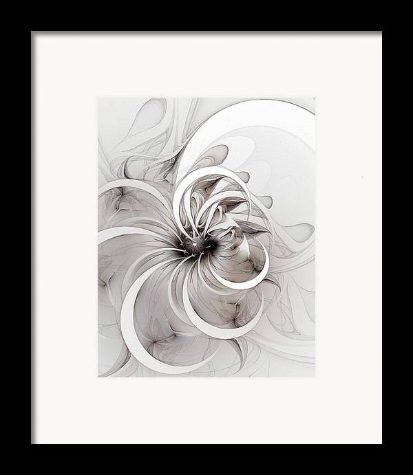Digital Art Framed Print featuring the digital art Monochrome Flower by Amanda Moore