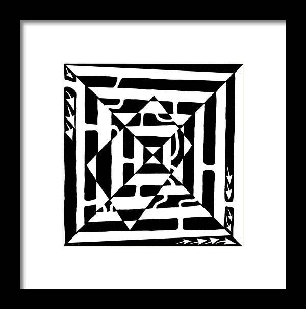 Maze Art Framed Print featuring the drawing Monolith Maze Optical Illusion by Yonatan Frimer Maze Artist