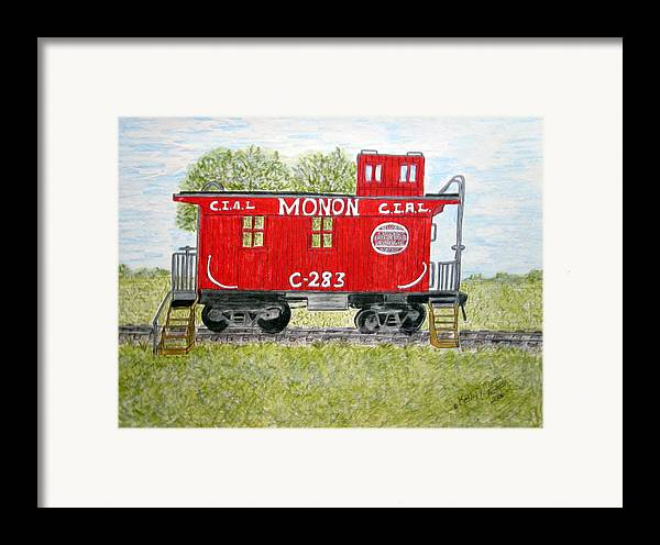 Monon Framed Print featuring the painting Monon Wood Caboose Train C 283 1950s by Kathy Marrs Chandler