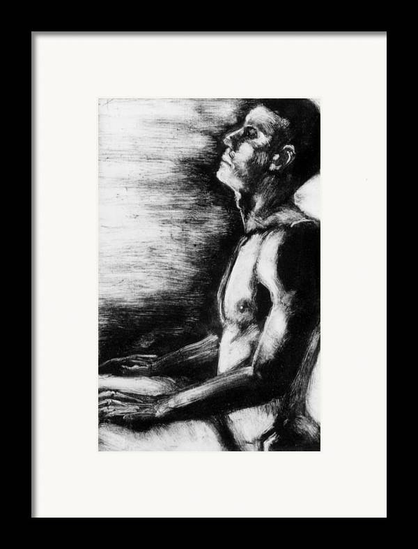 Male Framed Print featuring the painting Monotype Series 29 by John Clum