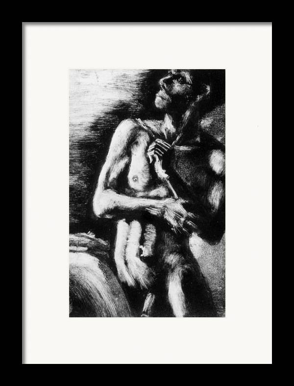 Man Framed Print featuring the painting Monotype Series 30 by John Clum