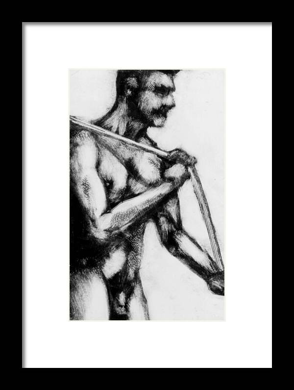 Male Framed Print featuring the painting Monotype Series 31 by John Clum
