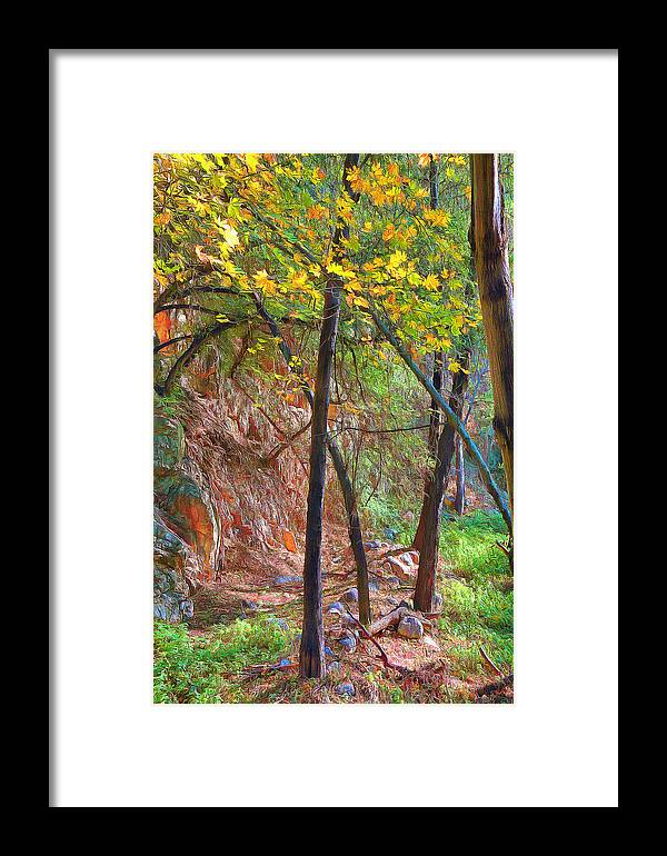 Monrovia Canyon In Fall Framed Print featuring the painting Monrovia Canyon In Fall by Viktor Savchenko