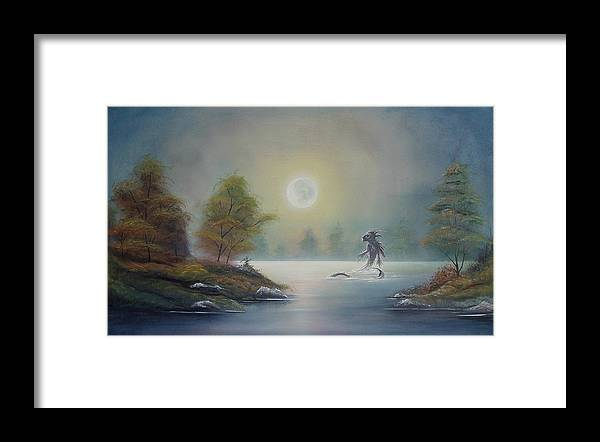 Landscape Framed Print featuring the painting Monstruo Ness by Angel Ortiz