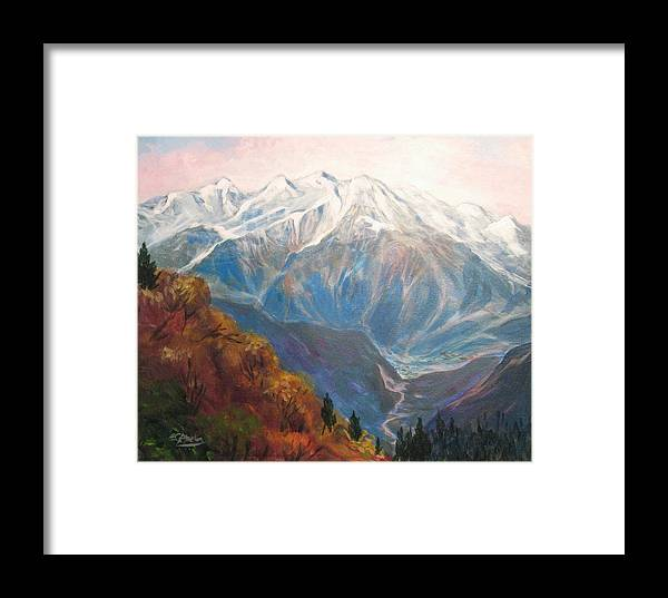 Mountain Framed Print featuring the painting Mont Blanc France by Edward Abela