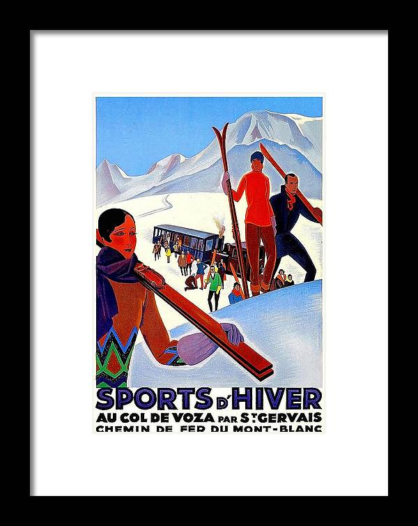 Mont Blanc Framed Print featuring the painting Mont Blanc, Mountain, France, Skiing by Long Shot