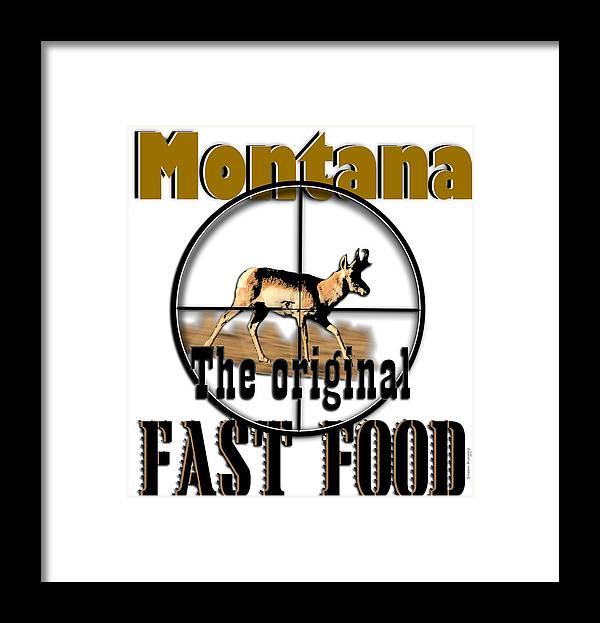 Montana Art Framed Print featuring the digital art Montana Fast Food by Susan Kinney