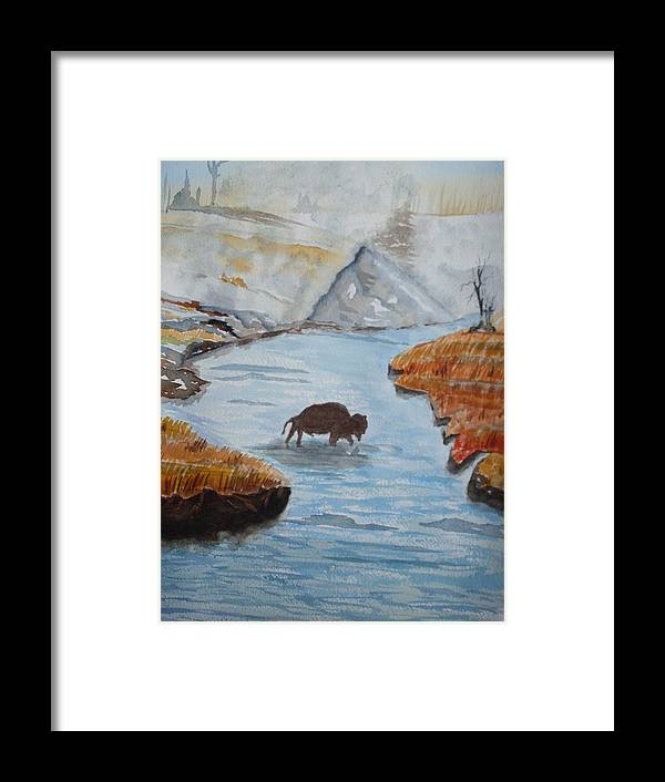 Landscape Framed Print featuring the painting Montana Wildlife by Warren Thompson