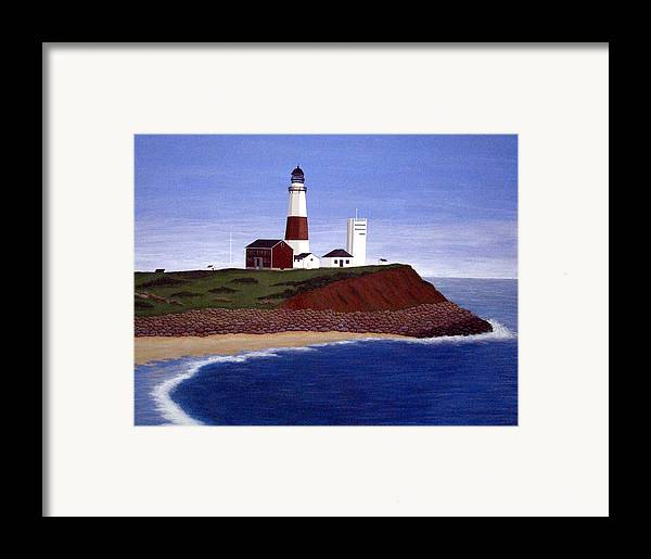 Lighthouse Paintings Framed Print featuring the painting Montauk Point Lighthouse by Frederic Kohli