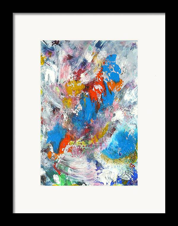 Abstract Framed Print featuring the painting Monte Carlofireworks 2 by Greg Gierlowski
