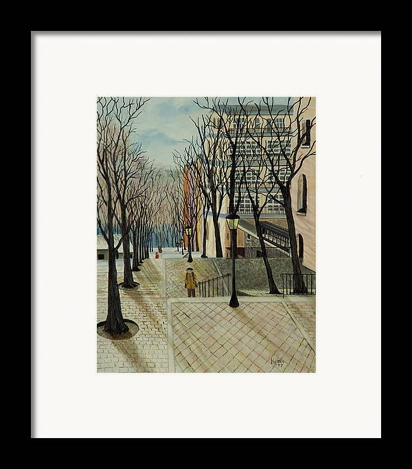 Paris Framed Print featuring the painting Montmartre Steps In Paris by Susan Kubes