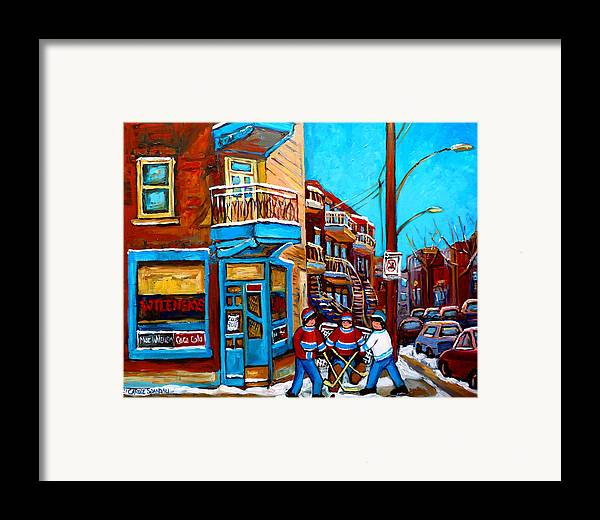 Montreal Framed Print featuring the painting Montreal City Scene Hockey At Wilenskys by Carole Spandau