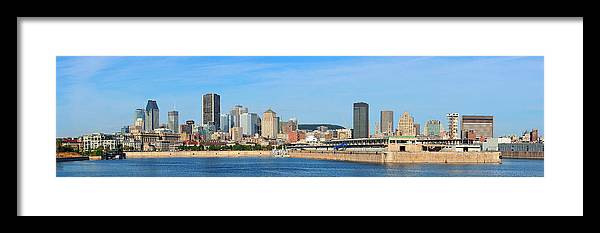 Montreal Framed Print featuring the photograph Montreal City Skyline Over River Panorama by Songquan Deng
