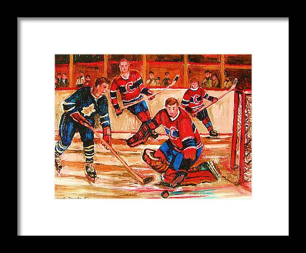 Montreal Forum Hockey Framed Print featuring the painting Montreal Forum Hockey Game by Carole Spandau