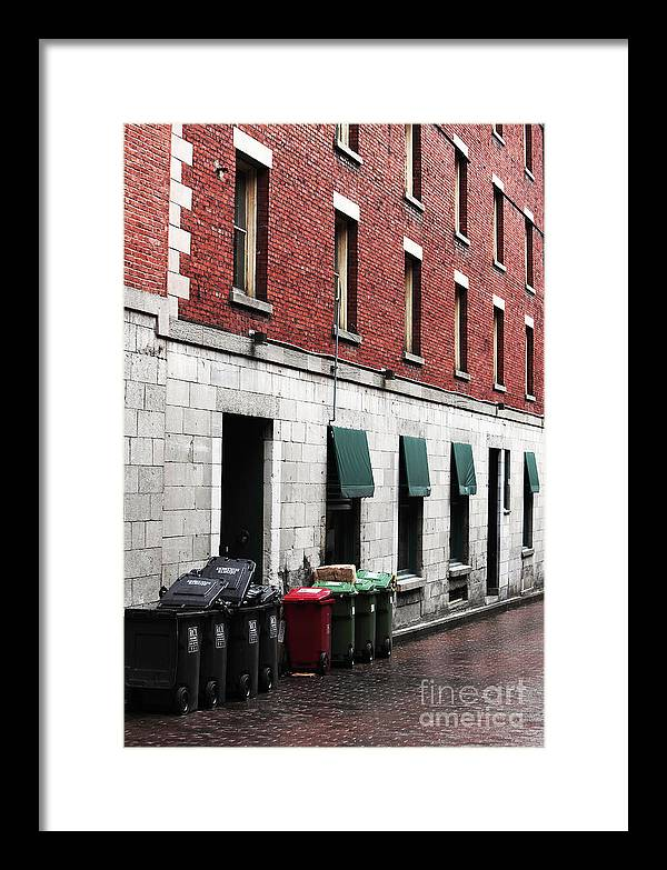 Montreal Garbage Cans Framed Print featuring the photograph Montreal Garbage Cans by John Rizzuto