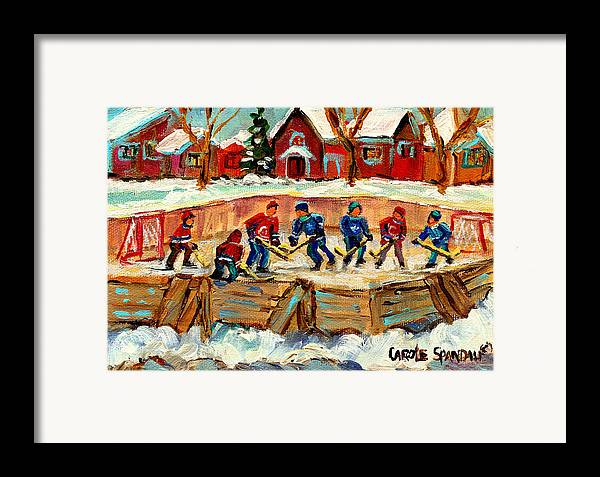 Montreal Framed Print featuring the painting Montreal Hockey Rinks Urban Scene by Carole Spandau