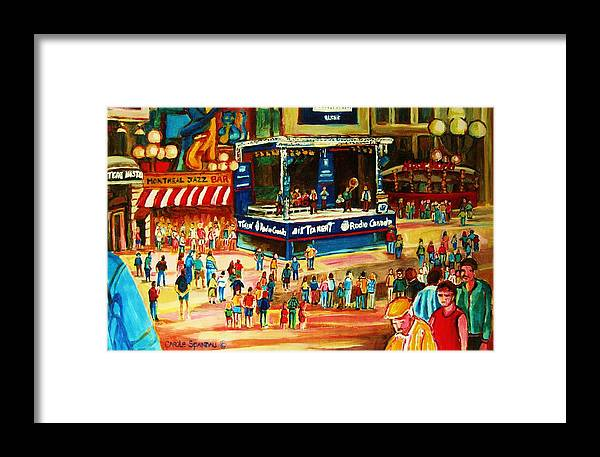 Montreal Framed Print featuring the painting Montreal Jazz Festival by Carole Spandau