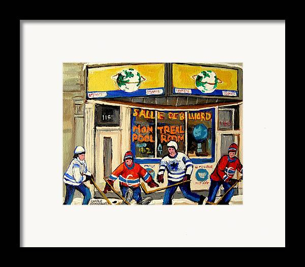 Montreal Framed Print featuring the painting Montreal Poolroom Hockey Fans by Carole Spandau