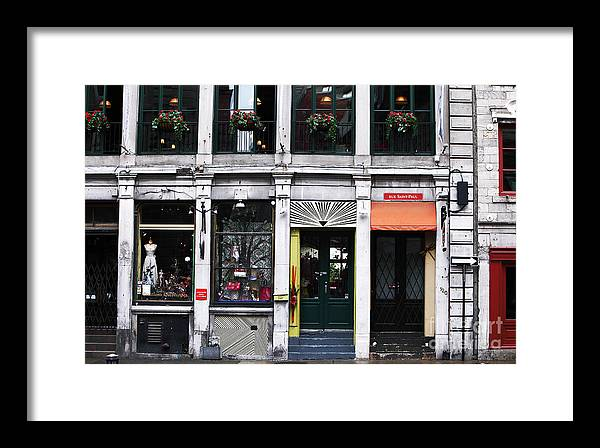 Montreal Shops Framed Print featuring the photograph Montreal Shops by John Rizzuto