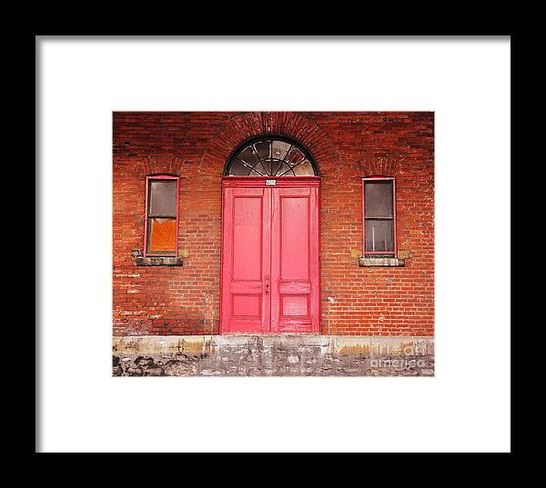 Red Doors Framed Print featuring the photograph Montreal Street Photography by Reb Frost