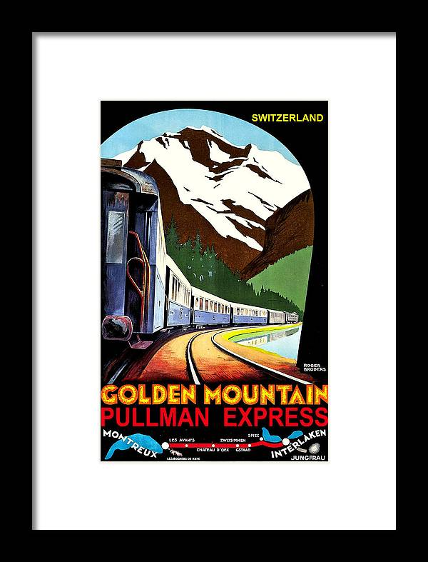 Montreux Framed Print featuring the painting Montreux, Golden Mountain Railway, Switzerland by Long Shot