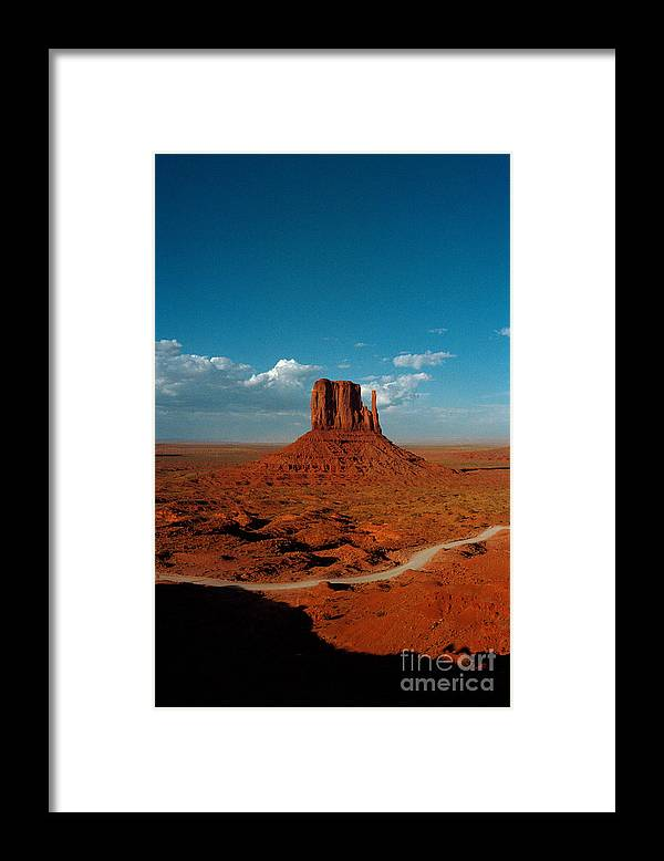 Landscape National Park Blue Sky Red Rock Cloud Framed Print featuring the photograph Monument Park by Ty Lee