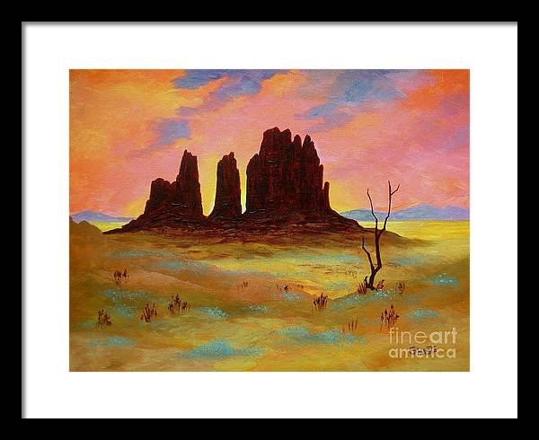 Landscape Framed Print featuring the painting Monument by Shasta Eone