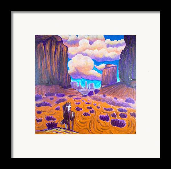 Landscape Framed Print featuring the painting Monument Valley by Steve Lawton