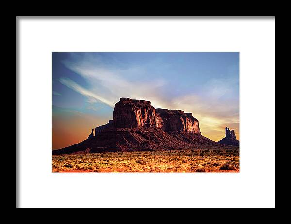 Monument Valley Framed Print featuring the photograph Monument Valley sunset by Roy Nierdieck