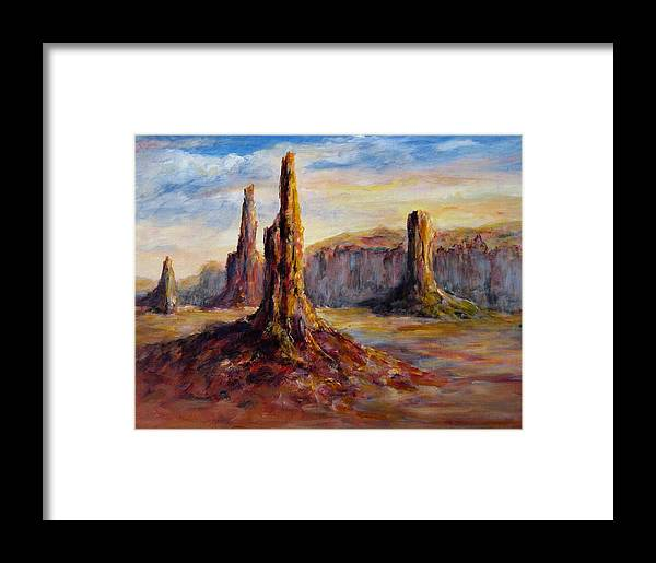 Arizona Framed Print featuring the painting Monument Valley by Thomas Restifo