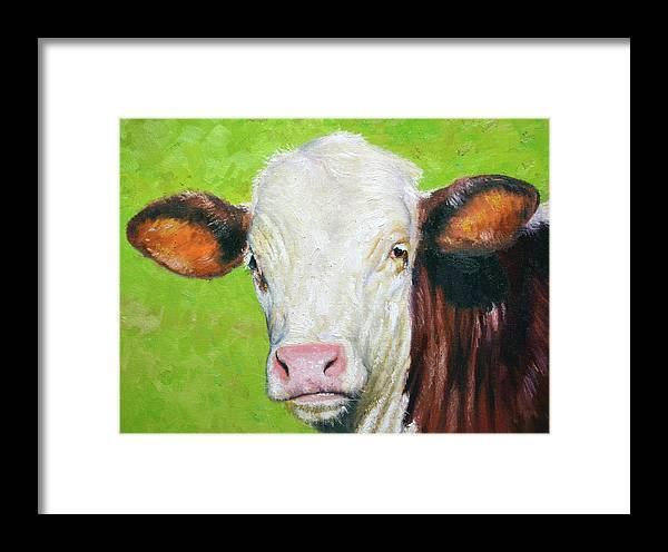 Animal Framed Print featuring the painting Moo by Armand Cabrera