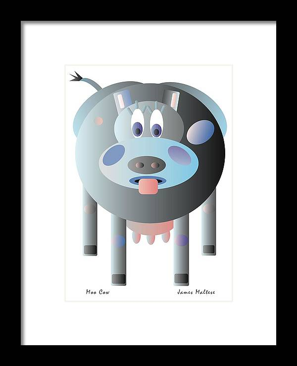 Animal Framed Print featuring the digital art Moo Cow by James Maltese
