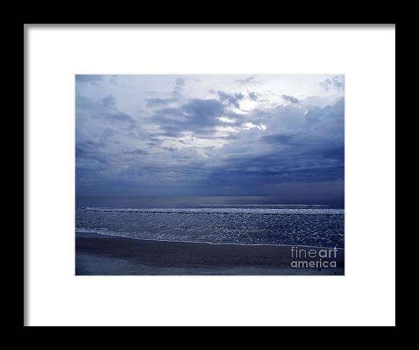 Sunrise Framed Print featuring the photograph Moody Blue Beach by D Hackett