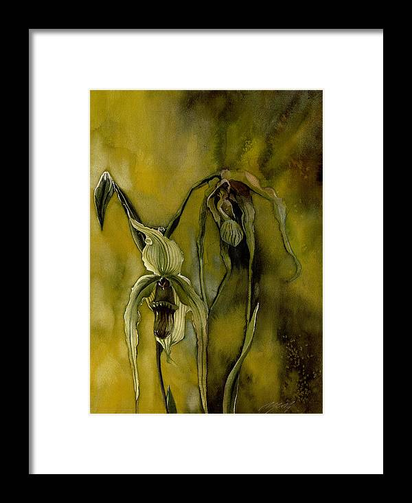 Ladyslipper Orchid Framed Print featuring the painting Moody Lady by Alfred Ng