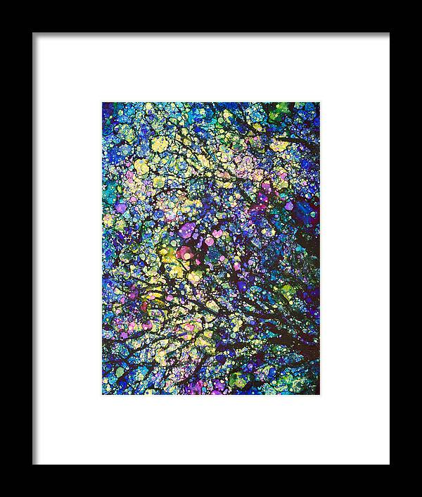 Abstract Framed Print featuring the painting Moon Dance - A by Sandy Sandy