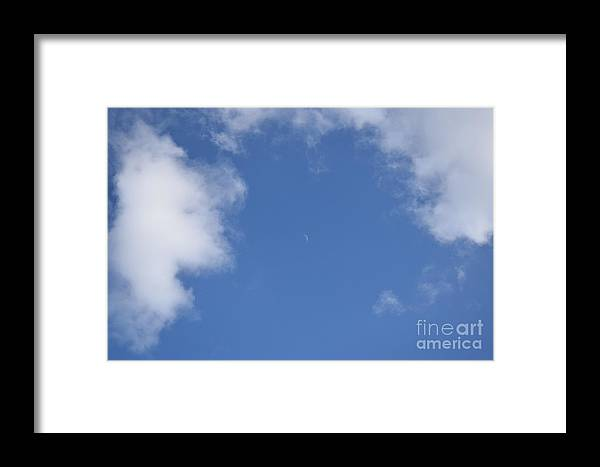 Framed Print featuring the photograph Moon During The Day, Above The M4 In Slough by Jordan Butterfield